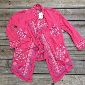 NWT Caite Pink Embroidered Cardigan Small